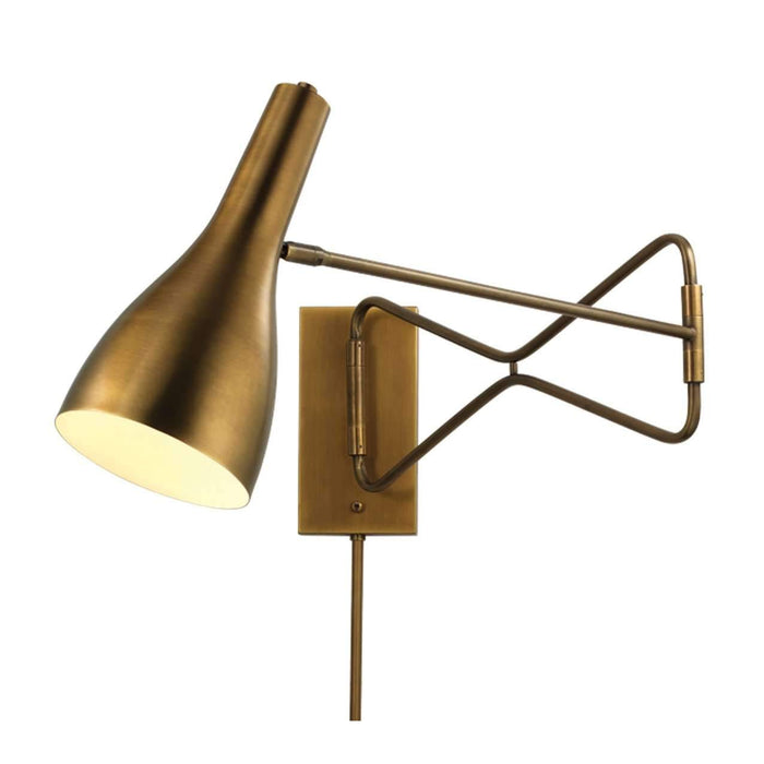 Lenz Swing Arm Wall Sconce in Antique Brass