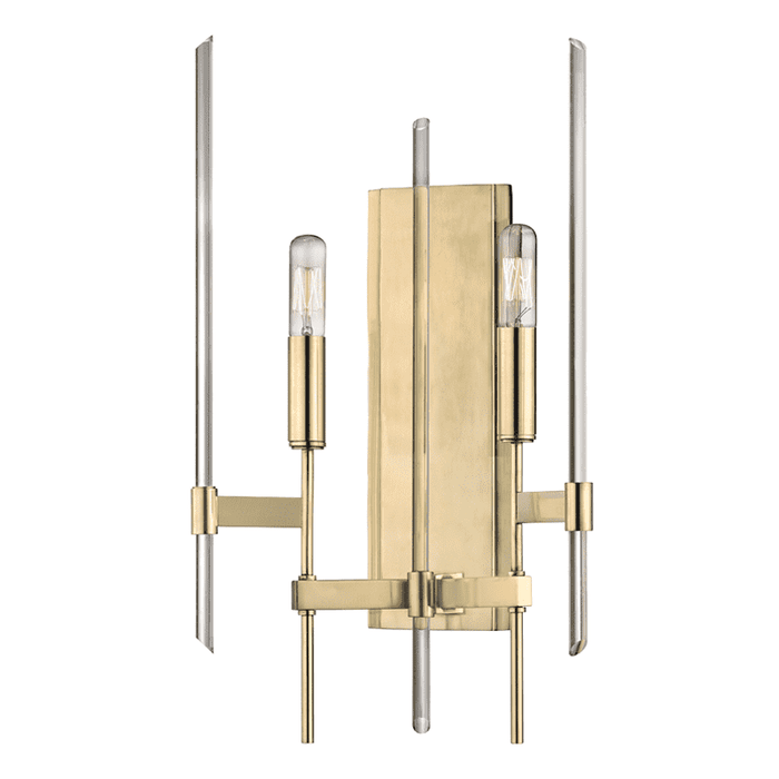 Bari 2 Light Wall Sconce Aged Brass