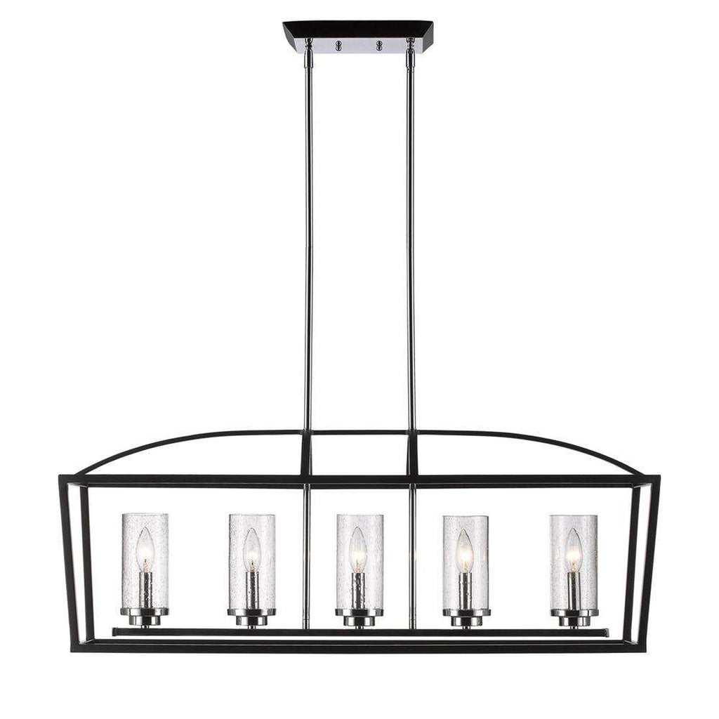 Mercer 5 Light Linear Pendant in Black with Seeded Glass