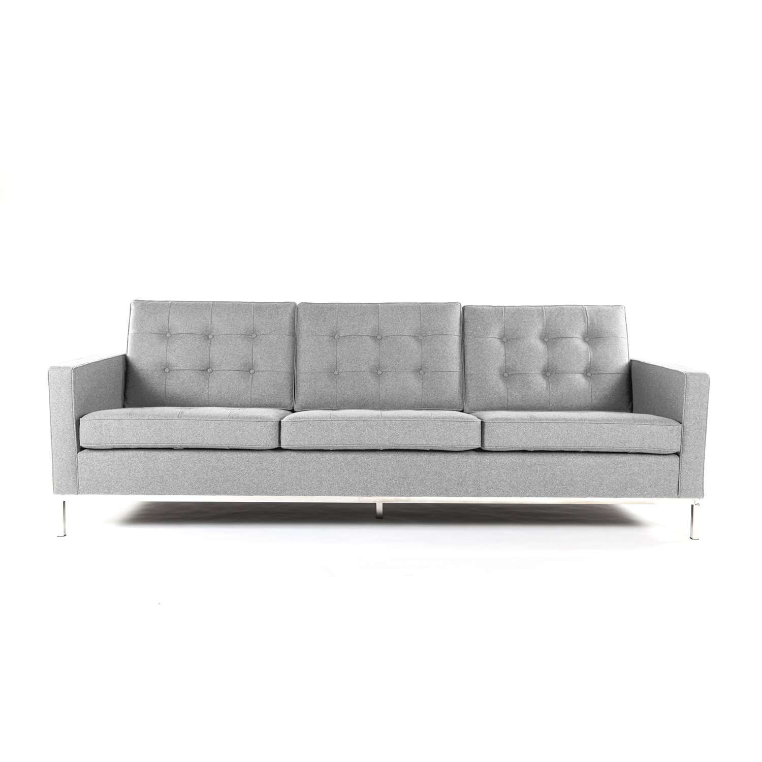 Mid century modern tufted sofa 90 light grey