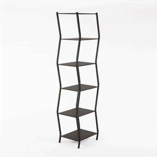 Modern Six Tier Staggered Book Shelf-Black