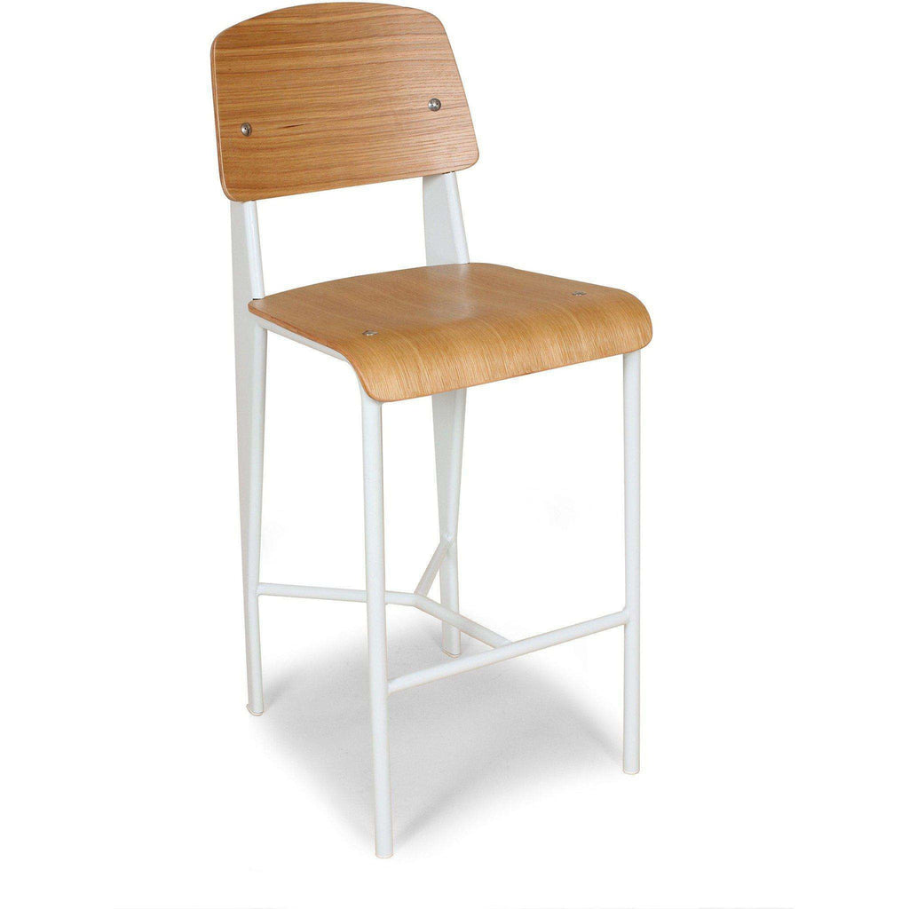 Mid-Century Modern Reproduction Standard Barstool - White Inspired by Jean Prouve