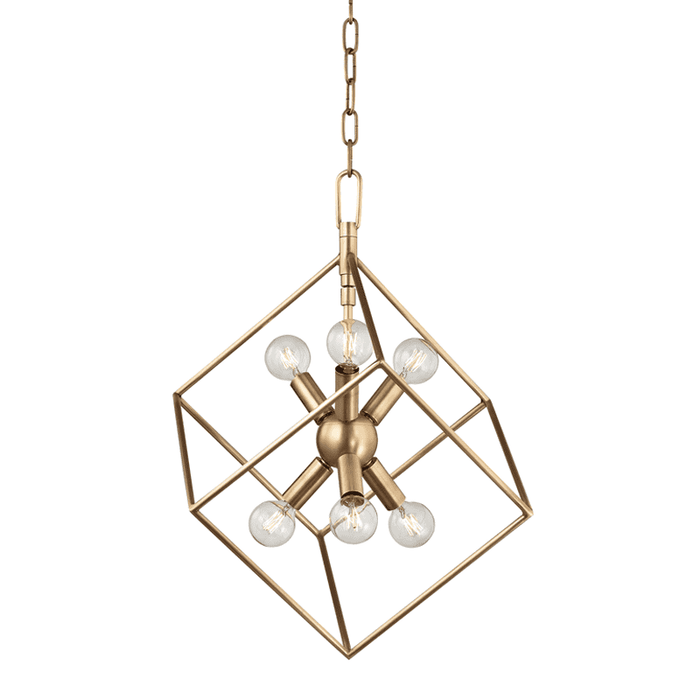 Roundout 6 Light Pendant Aged Brass
