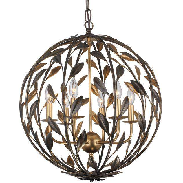 Broche 6 Light English Bronze + Antique Gold Sphere Chandelier