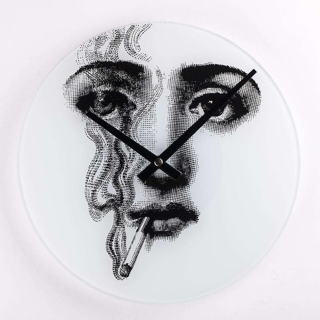 Mid-Century Modern Reproduction Girl Clock - Don't Smoke Inspired by Piero Fornasetti