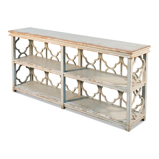 Quatrefoil Bookshelf Console Table