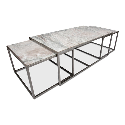 Set Of 3 Nesting Low Marble Top Tables