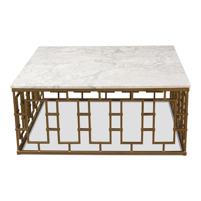 Brass Gate Cocktail Table w/ White Marble