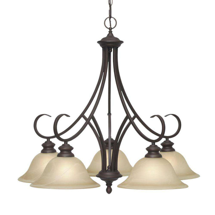 Lancaster 5 Light Nook Chandelier in Rubbed Bronze with Antique Marbled Glass