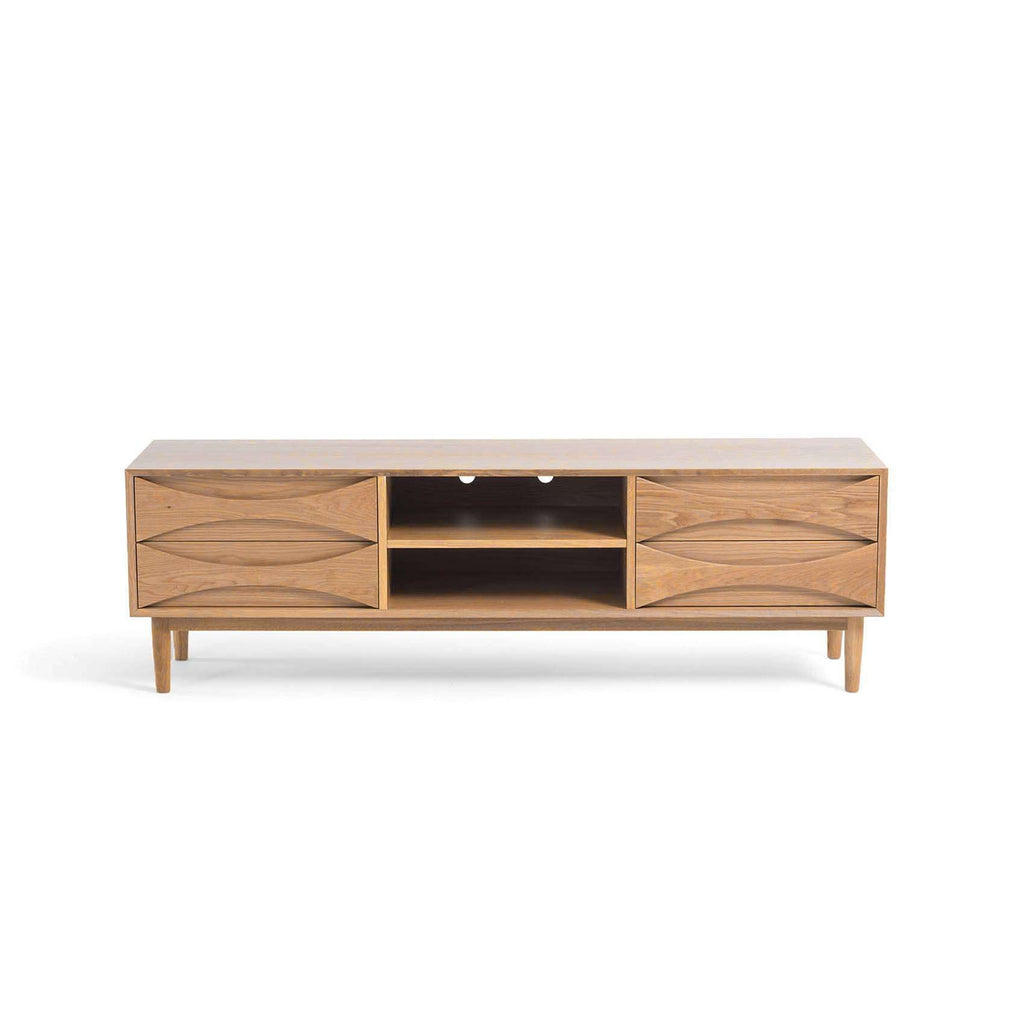 Mid Century Halvmane Media Unit - Oak 71""