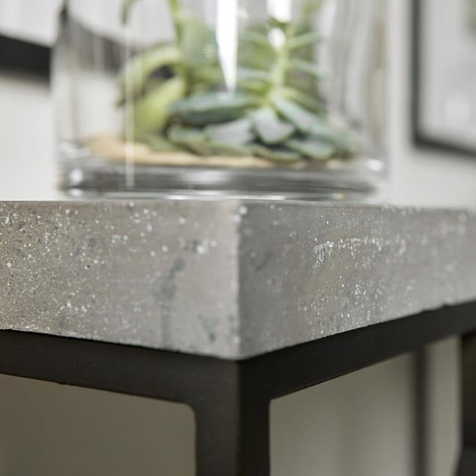 Ciao Bella Metal and Faux Concrete Console Table