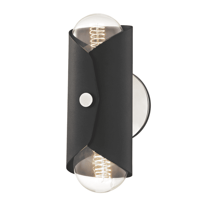 Immo 2 Light Wall Sconce - Polished Nickel/Black