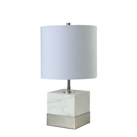 "17.5"" Square Marble on Polished Nickel Base"