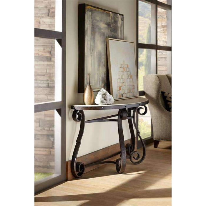 Luckenbach Metal and Stone Demilune Console