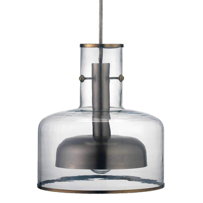 Clyde Pendant in Clear Glass with Gun Metal Hardware