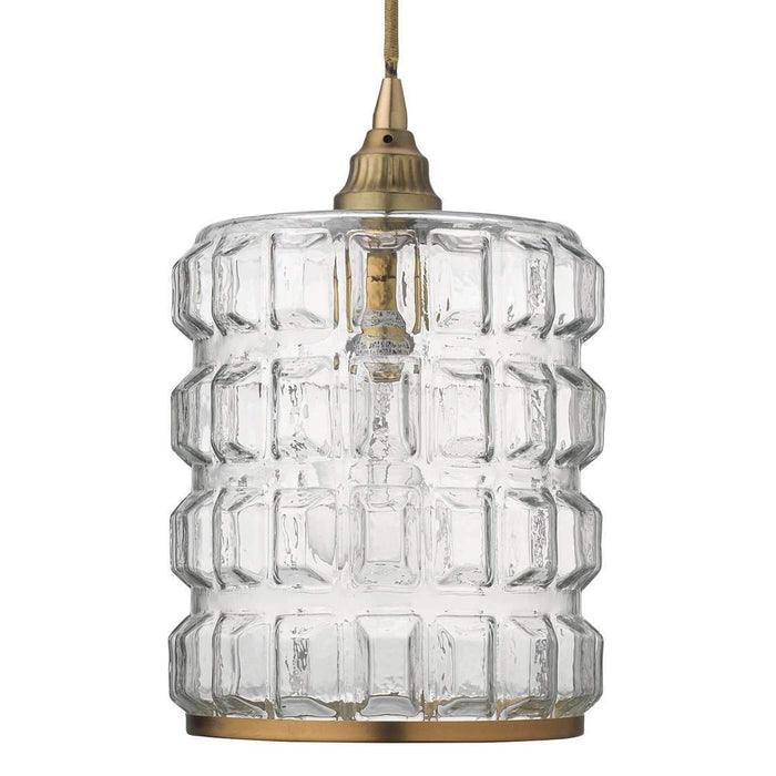 Madison Pendant in Clear Glass with Antique Brass Hardware