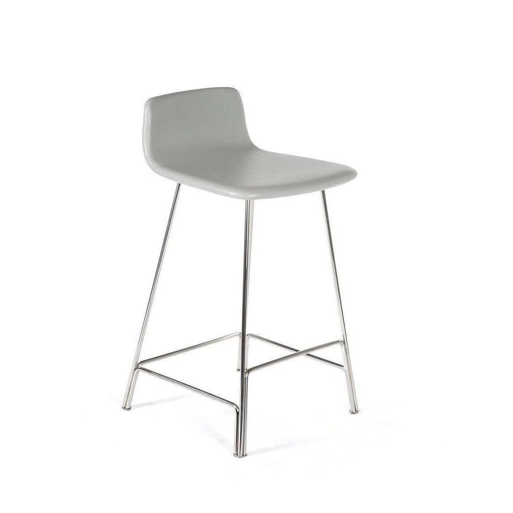 Modern Sean Dix Rod Counter Stool - Grey Leather and Walnut