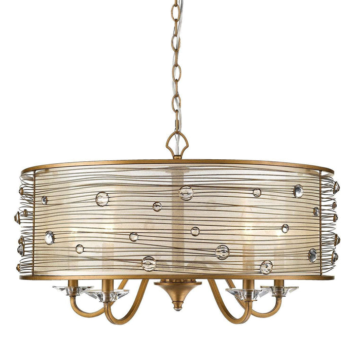 Joia PG 5 Light Chandelier Peruvian Gold