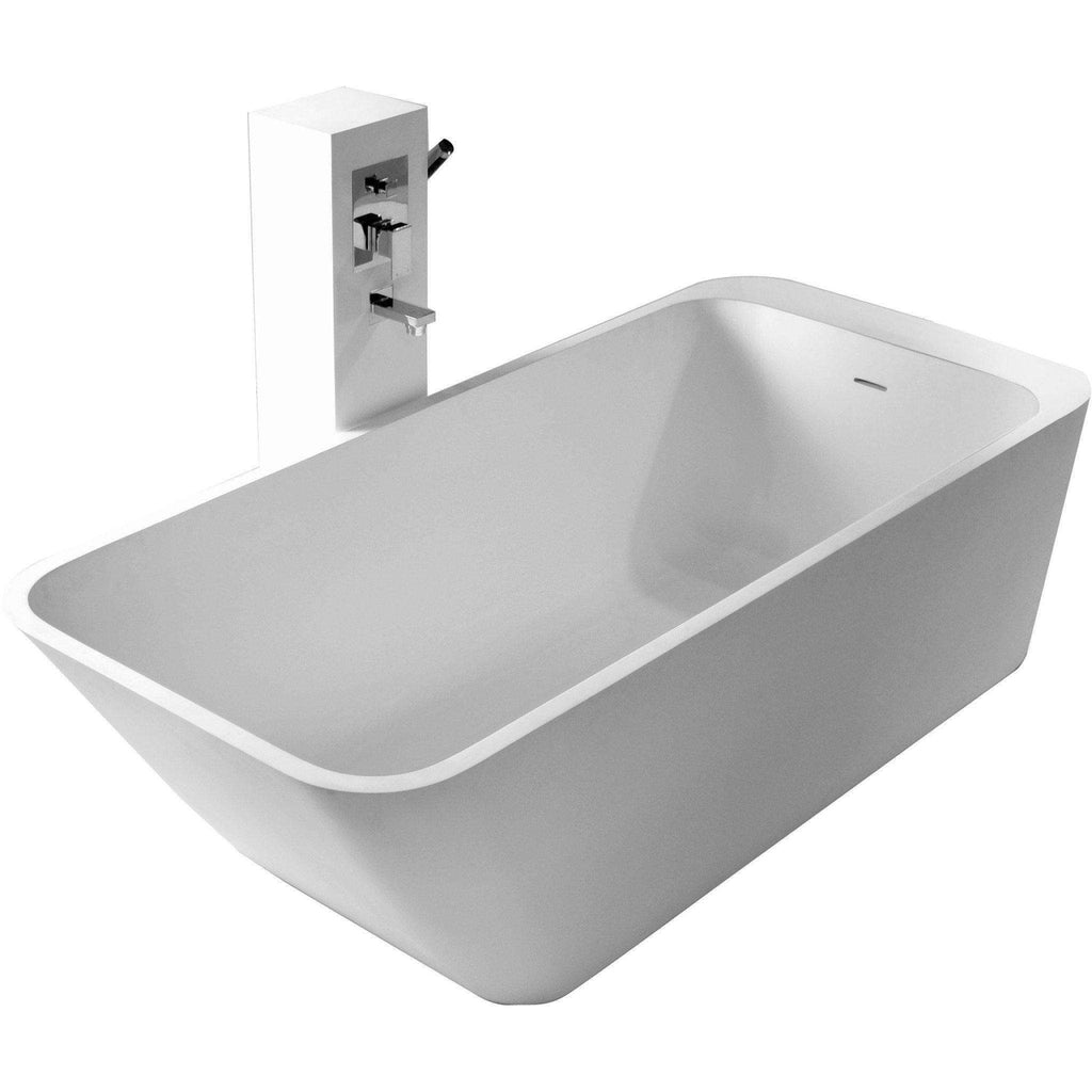 Modern Rutger True Solid Surface Soaking Tub - Matte White
