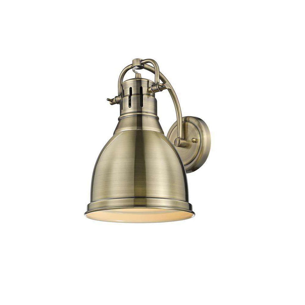 Duncan 1 Light Wall Sconce in Aged Brass with an Aged Brass Shade