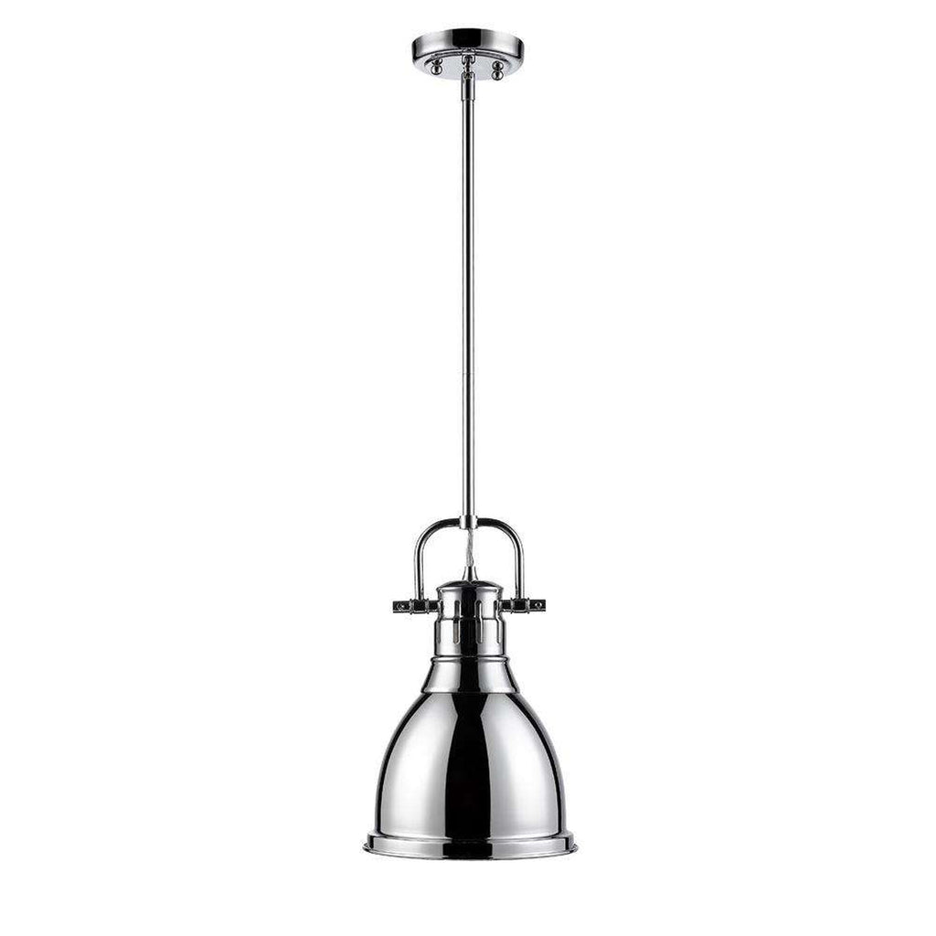 Duncan Small Pendant with Rod in Chrome with a Chrome Shade