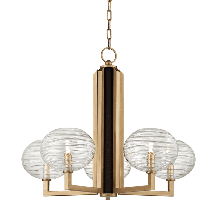 Breton 5 Light Chandelier Aged Brass