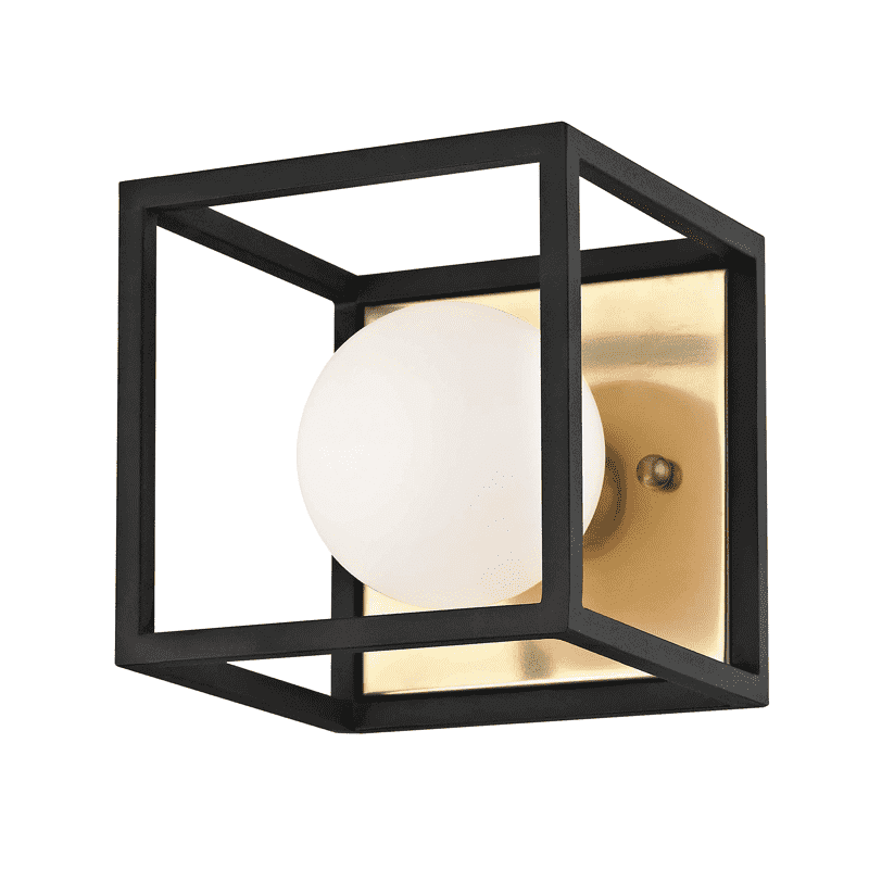 Aira 1 Light Bath Bracket - Aged Brass/Black