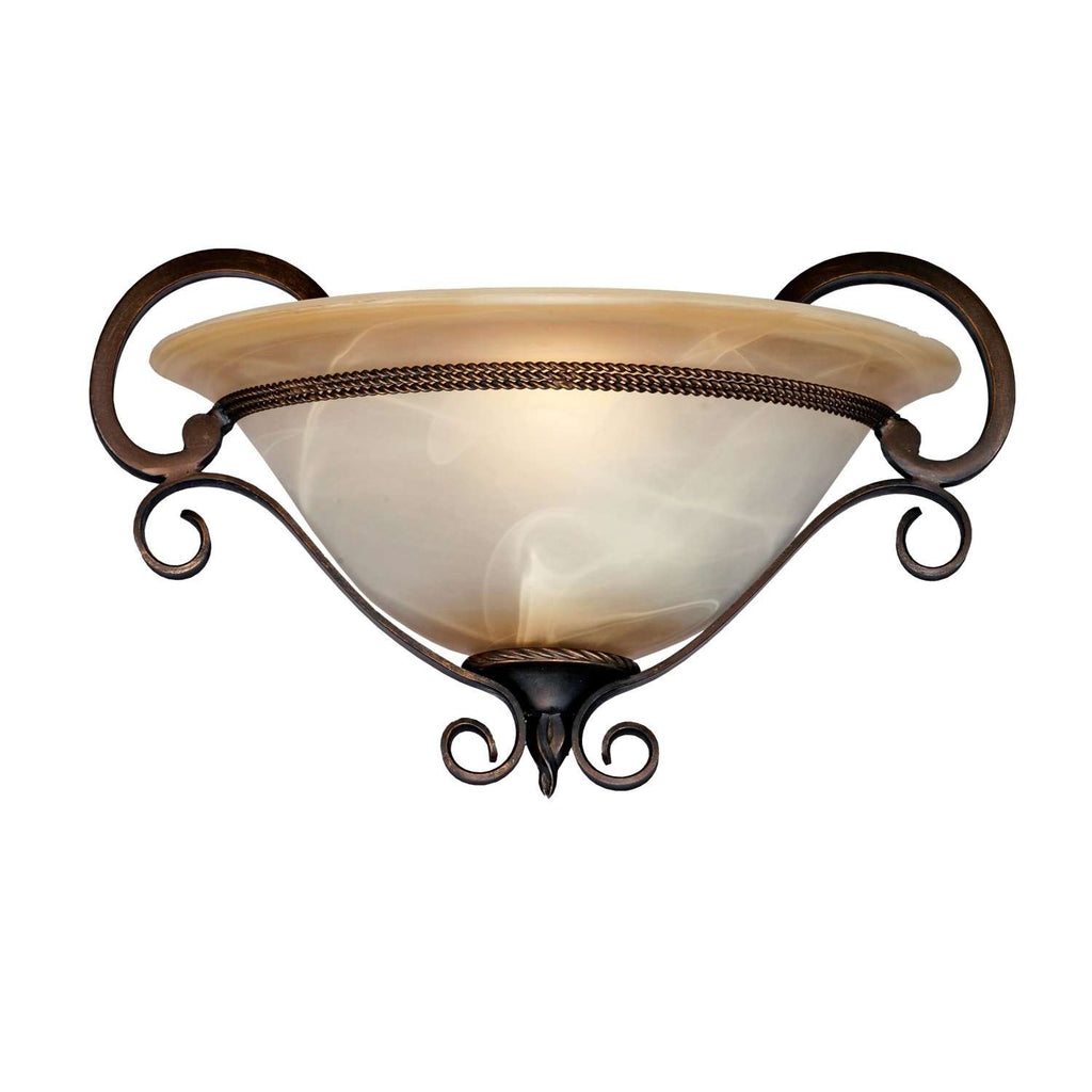 Meridian 1 Light Wall Sconce in Golden Bronze with Antique Marbled Glass