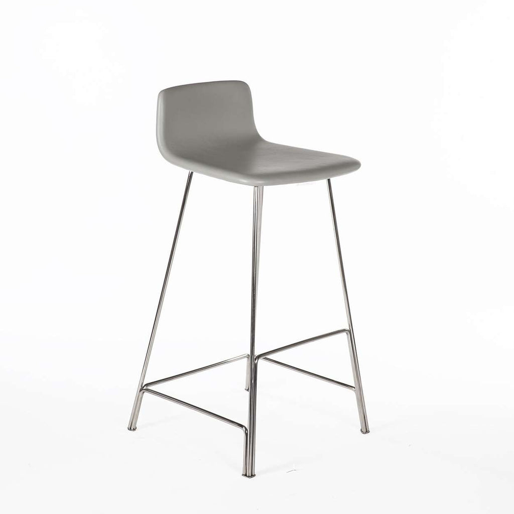 Modern Sean Dix Rod Bar Stool - Grey Leather and Walnut
