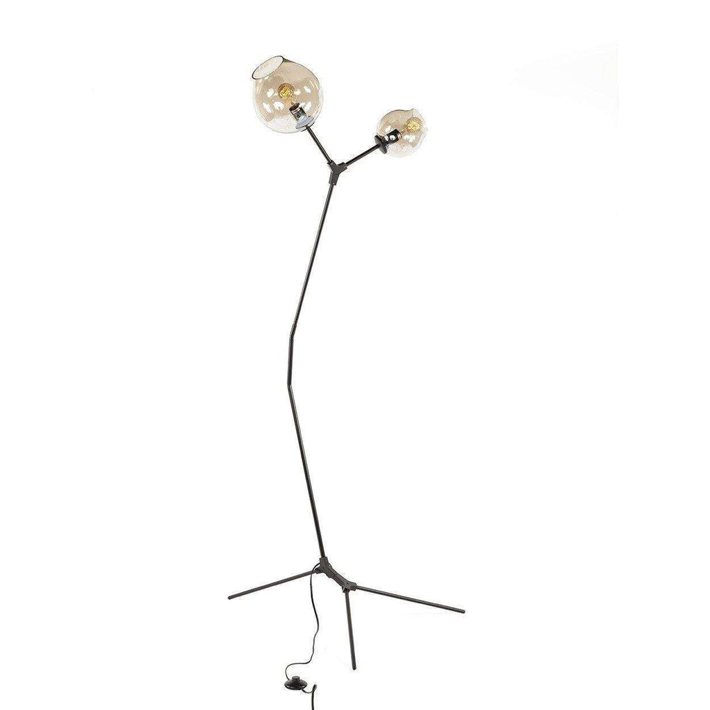 Modern Branching Floor Lamp with Two Globes - Black
