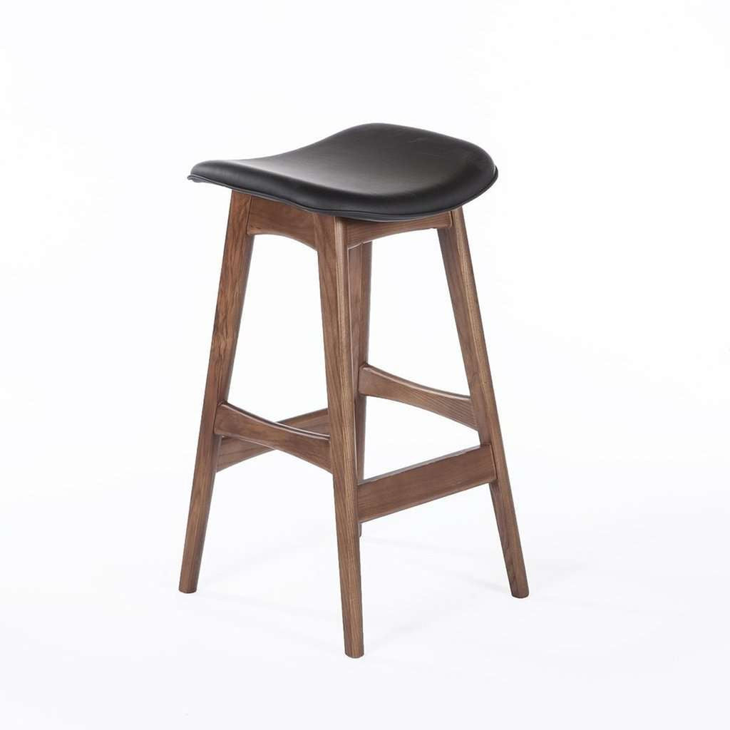 Mid Century Modern Dacia Counter Stool - Black Leather