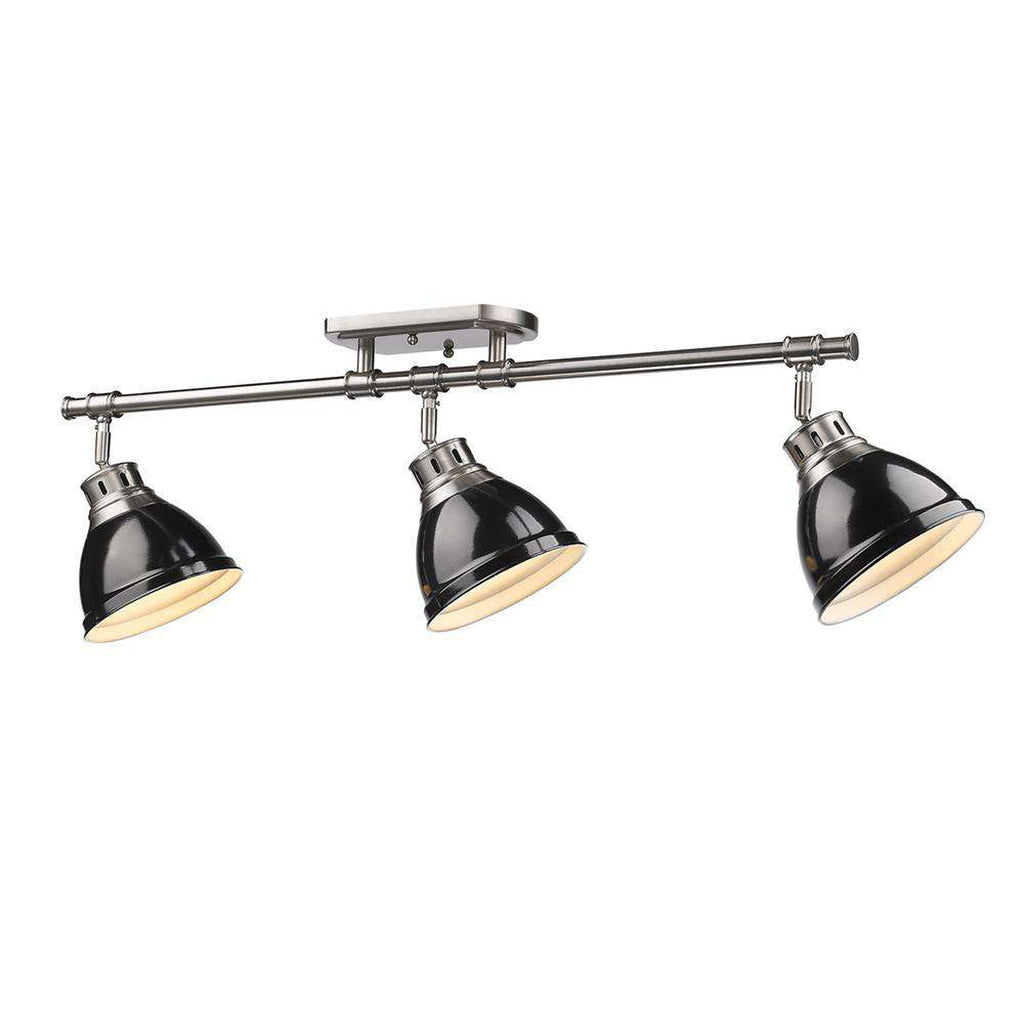 Duncan 3 Light Semi-Flush - Track Light in Pewter with Black Shades