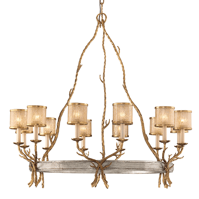 Parc Royale 12Lt Chandelier Gold And Silver Leaf