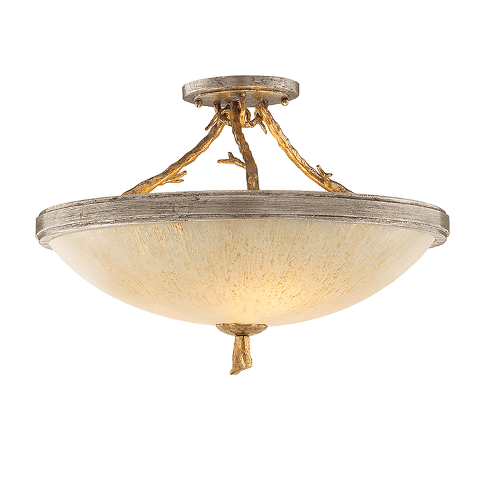 Parc Royale 3Lt Semi Flush Gold And Silver Leaf