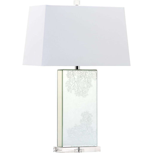 "28""H Coral Etched Rectangle Mirror With Crystal Base Table Lamp"