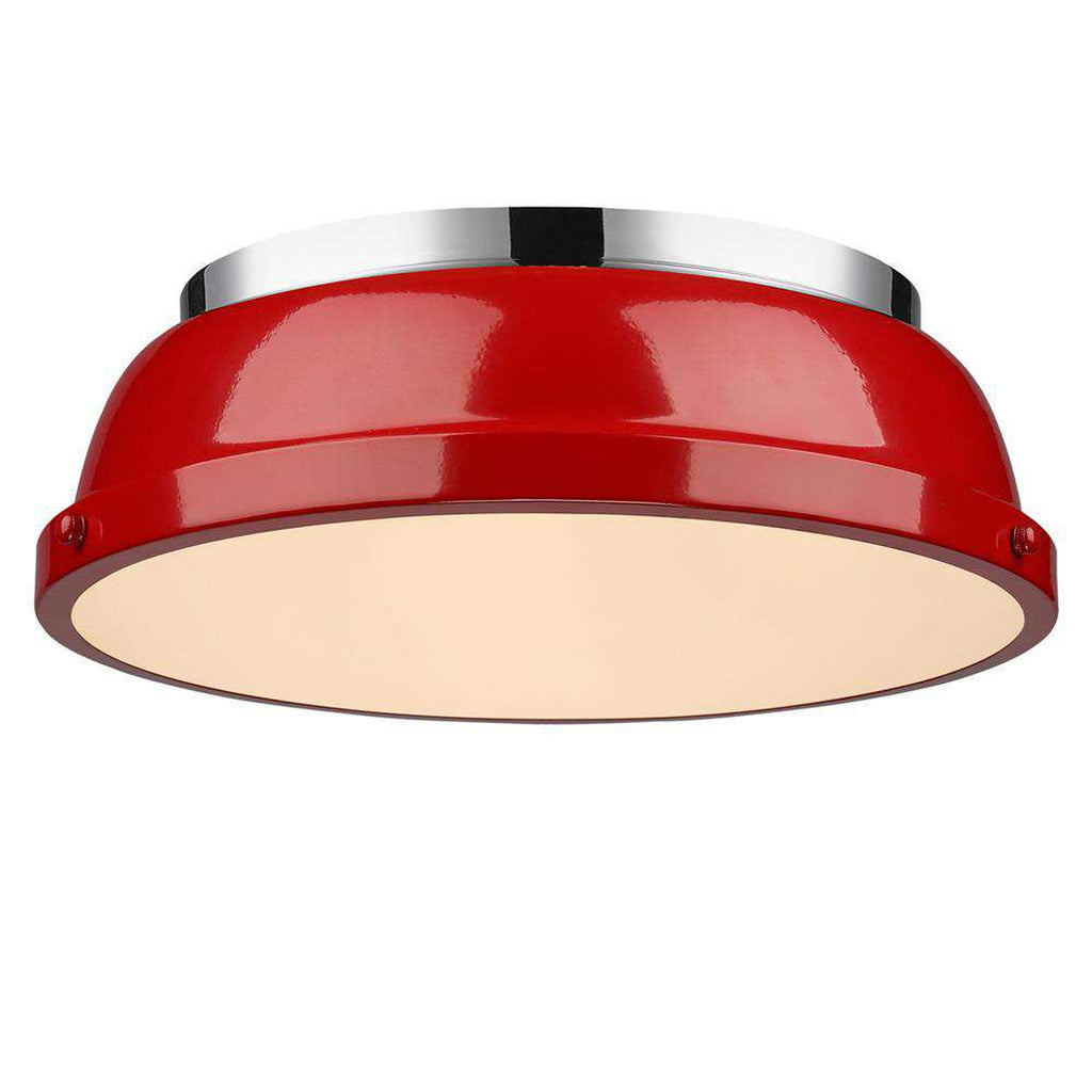 "Duncan Chrome Flush Mount 14"" - Red"
