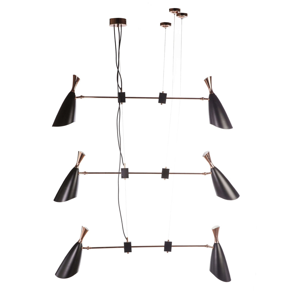 Mid Century Duke Suspension Lamp - Rose Gold