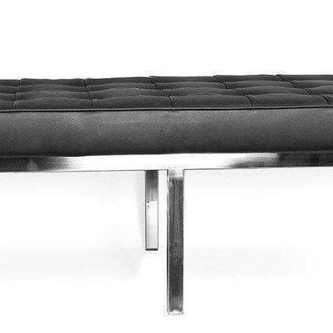 Mid-Century Modern Reproduction Long Mid Century Tufted Bench - Black Leather Inspired by Florence Knoll