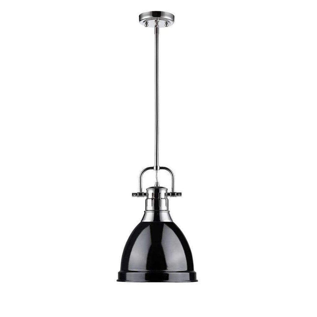 Duncan Small Pendant with Rod in Chrome with a Black Shade