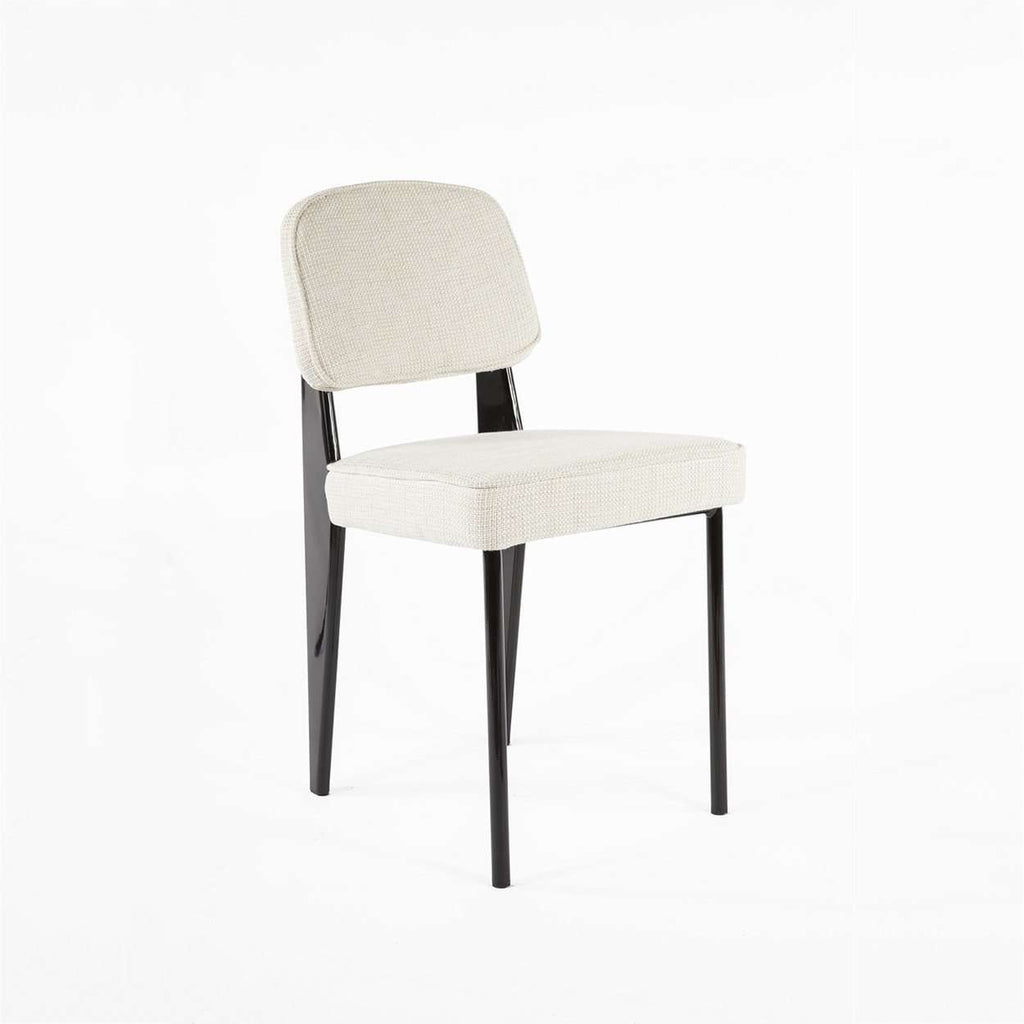 Modern Reproduction Standard Chair - Black with Beige Upholstered Seat Inspired by Jean Prouve