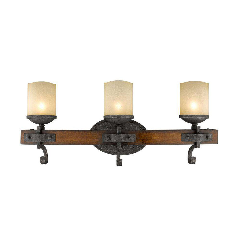 Madera 3 Light Bath Vanity in Black Iron with Toscano Glass