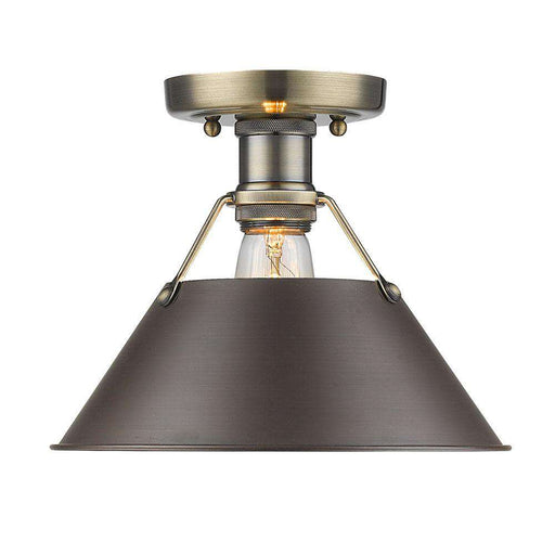 Orwell AB Flush Mount in Aged Brass with Rubbed Bronze Shade
