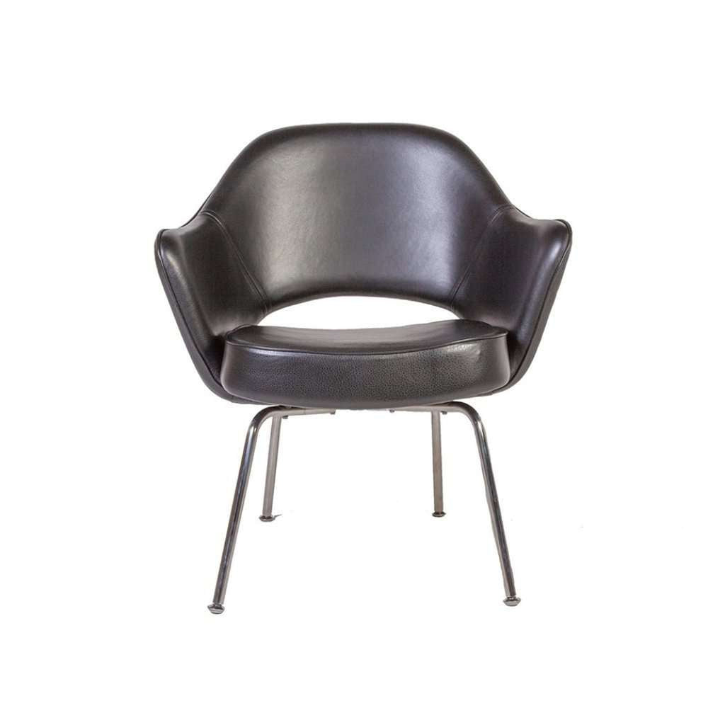 Mid-Century Modern Reproduction Executive Arm Chair - Black Leather Inspired by Eero Saarienen
