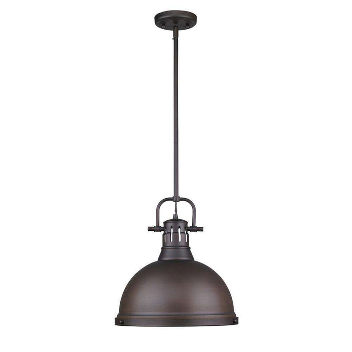 Duncan 1 Light Pendant with Rod in Rubbed Bronze