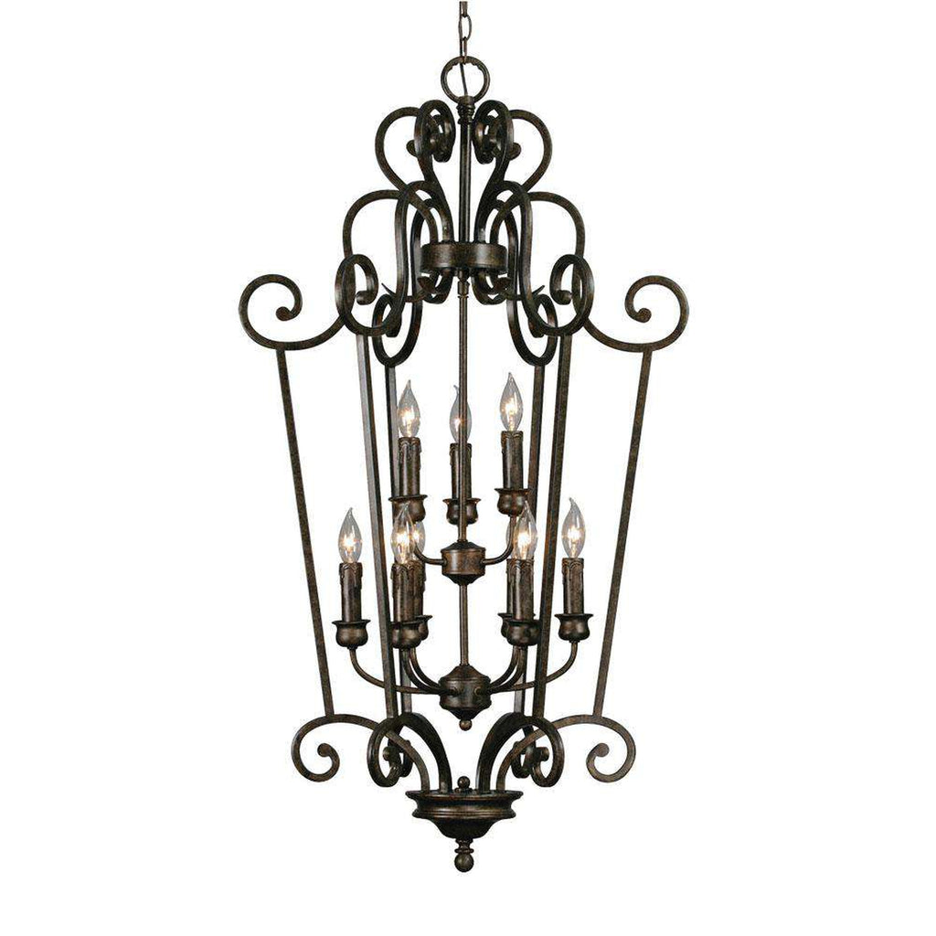 Heartwood 2 Tier - 9 Light Caged Foyer in Burnt Sienna with Drip Candlesticks