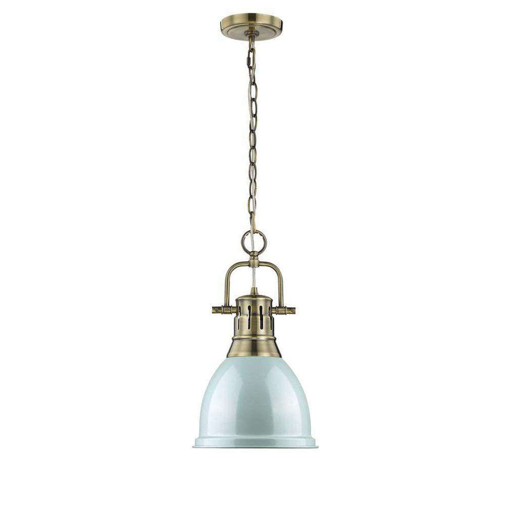 Duncan Small Brass Pendant with Chain in Seafoam