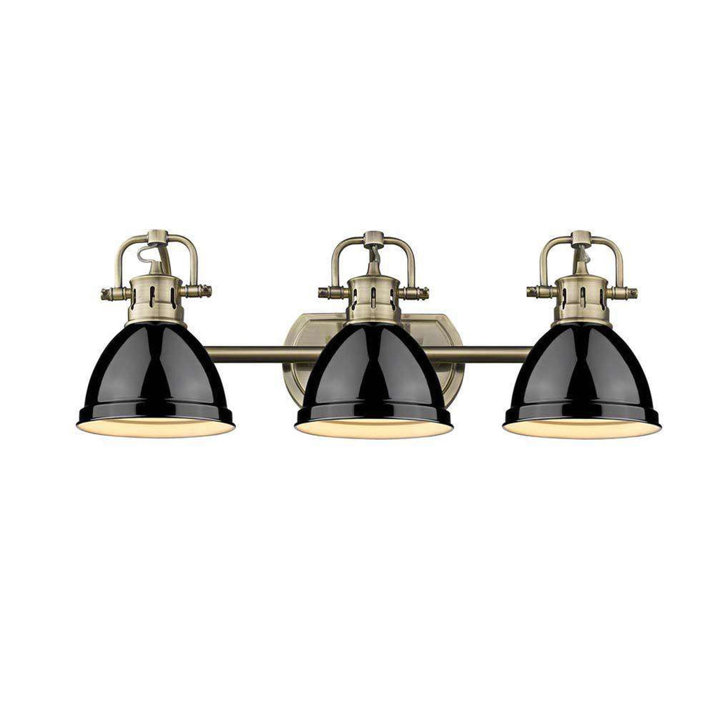 Duncan 3 Light Bath Vanity in Aged Brass with Black Shades