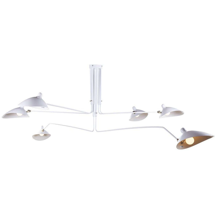 Mid-Century Modern Reproduction MCL-R6 Six Arm Ceiling Lamp - White Inspired by Serge Mouille