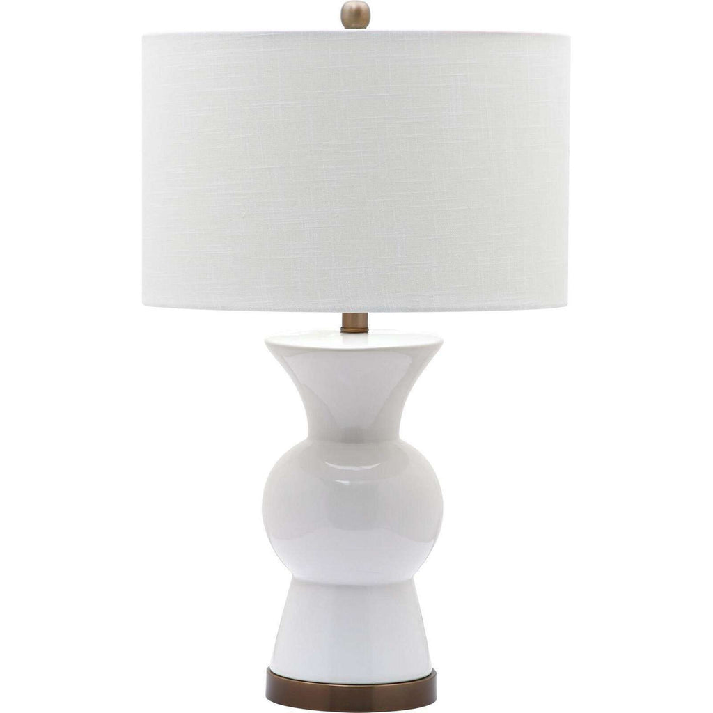 "26"" Bright White Ceramic Table Lamp"