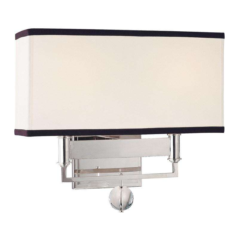 Gresham Park 2 Light Wall Sconce With Black Trim On Shade Polished Nickel